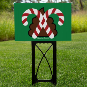 Christmas Candy Cane No Poop Yard Sign