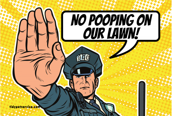 Comic Police No Poop Yard Sign