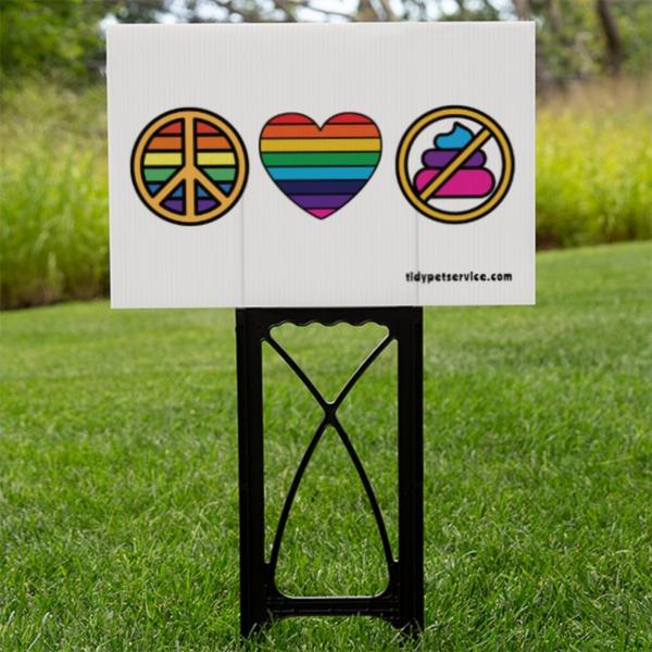 Peace Sign, Love, No Dog Poop Yard Sign