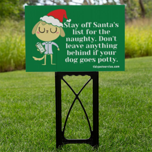 Santa's Naughty List No Dog Poop Yard Sign