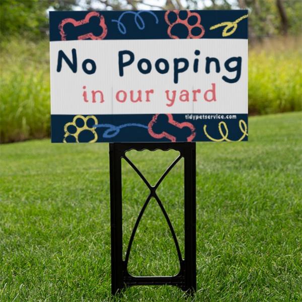 Scribble Paw and Bone No Dog Poop Yard Sign