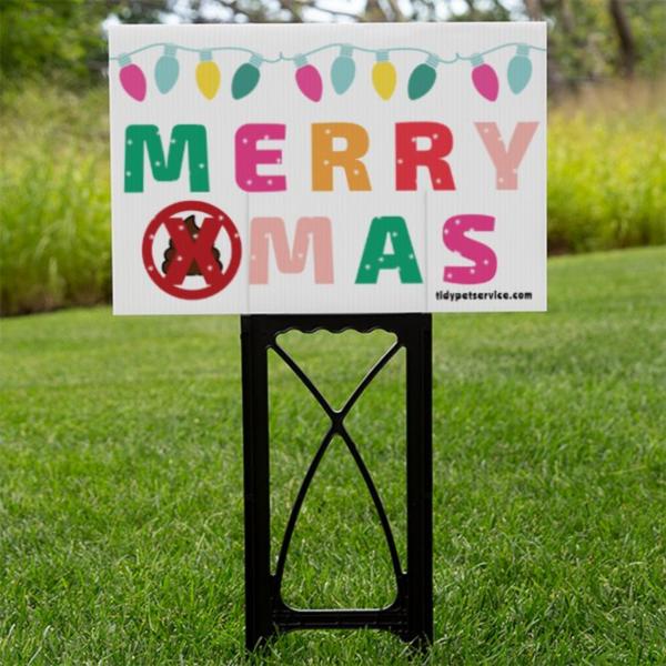 Merry Xmas No Dog Poop Yard Sign